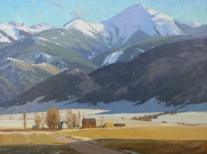 G. Russell Case, White Pine Peaks, oil, 30 x 40.
