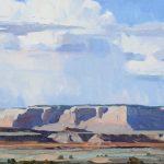 G. Russell Case, Rain Over Horse Mesa, oil, 20 x 40.