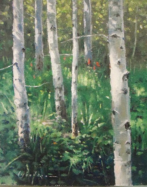 Jake Gaedtke, Aspens and Paintbrush, oil, 10 x 8.