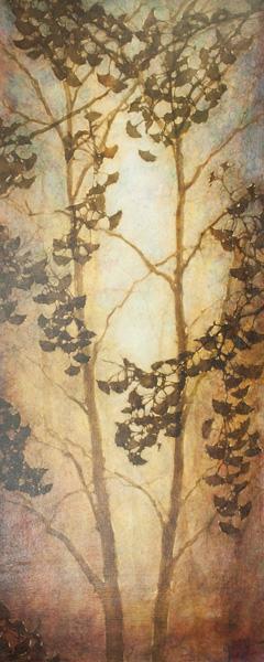 Michelle Gagliano, Ginko Foresta, oil, 60 x 24.