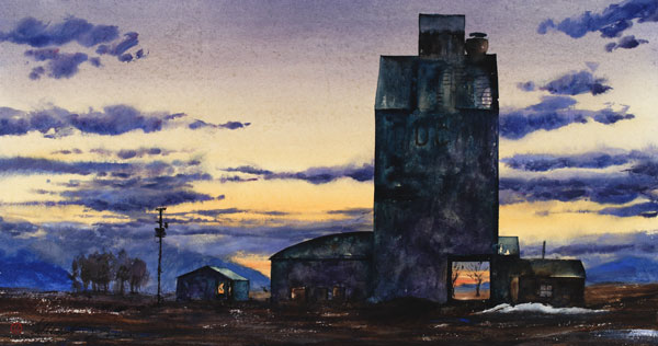 Gamble Ranch Granary #32, watercolor, 16 x 29.