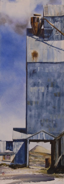 Gamble Ranch Granary # 36, watercolor, 40 x 14.