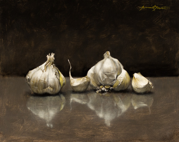 Jeremiah J. White, Garlic, oil, 8 x 10.