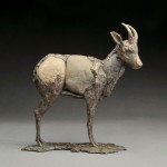 Pete Zaluzec | Gazelle, river stone/bronze, 15 x 9 x 5.