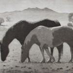 Geoff Lasko, Grazing, aquatint etching, 9 x 12.