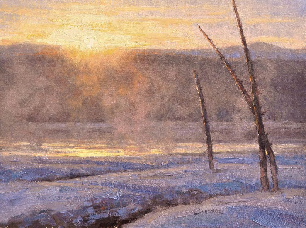 Greg Scheibel, Geyser Basin Sunset, oil, 12 x 16.