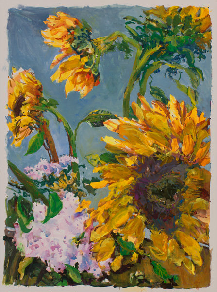 Ralph Nagel, Ghost Ranch Sunflowers, watercolor, 30 x 23.