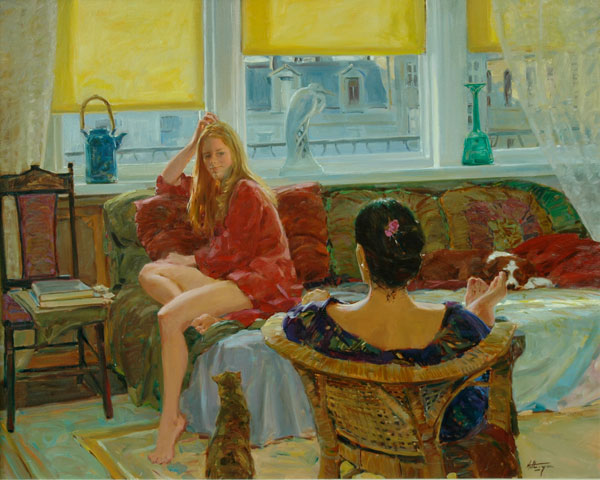 Girl Talk, oil, 32 x 40.