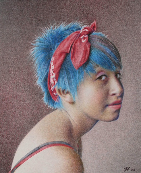 Tanja Gant, Girl Without an Earring, colored pencil and graphite, 16 x 13.