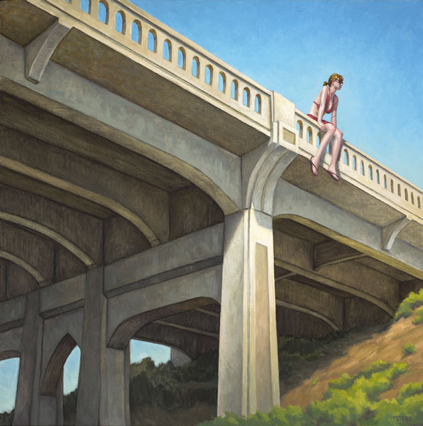 Girl on Bridge, oil, 24 x 24.