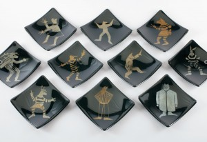 Rebecca Tobey, Plates, glass, each 6 x 6.
