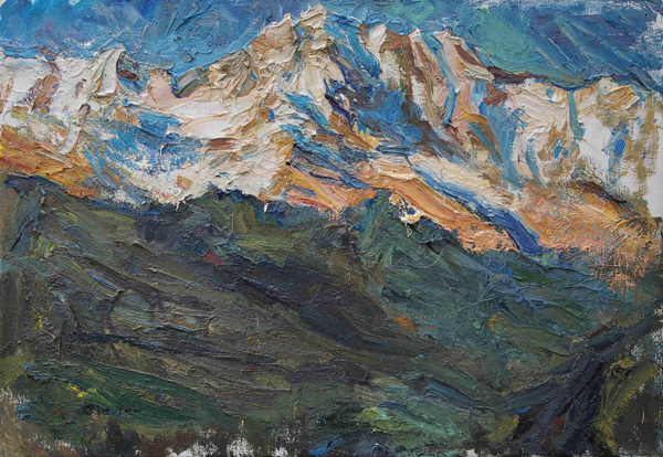 Uli Gleiter, Caucasus Sunset, oil, 20 x 28.