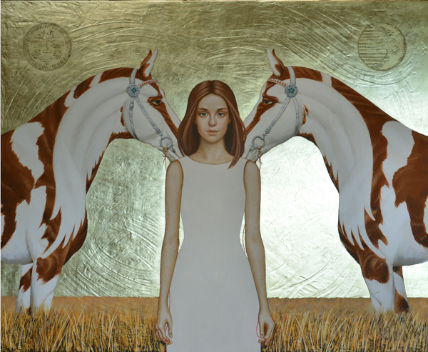 Olga & Aleksey Ivanov, Golden Terra, egg tempera/gold leaf, 40 x 48.