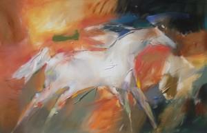 Jean Richardson, Good Fortune, acrylic, 30 x 46.