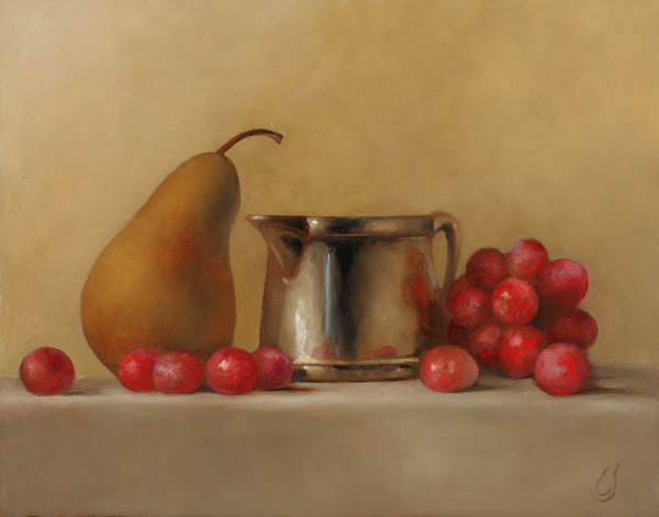 Erin Schulz, Grapes and Pear, oil still-life painting