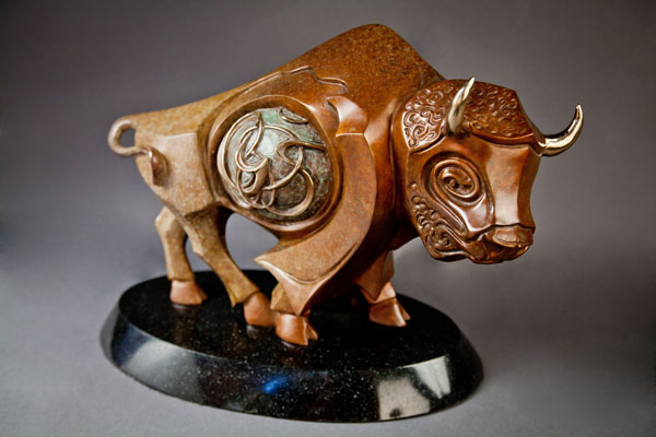 Great Bison, bronze, 14x 20 x 8.