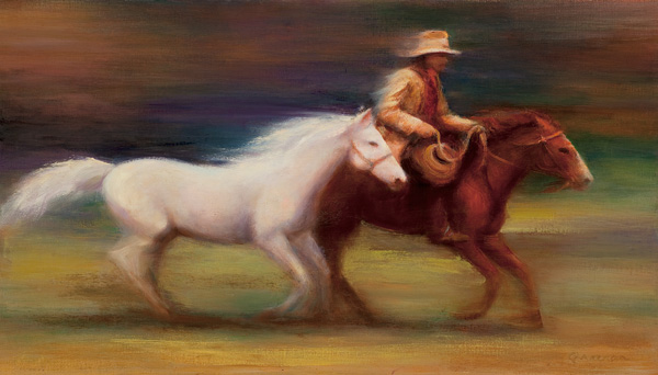Judy Greenan, Homeward Bound, oil, 17 x 30.