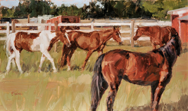 Lindsey Bittner Graham, Greenshire Farm, oil, 16 x 27.