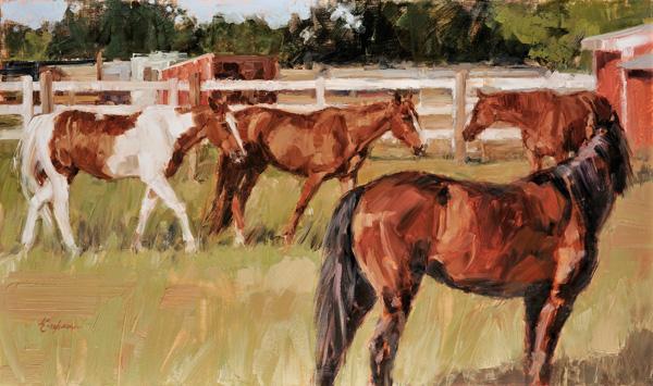 Lindsey Bittner Graham, Greenshire Farm, oil, 16 x 27.