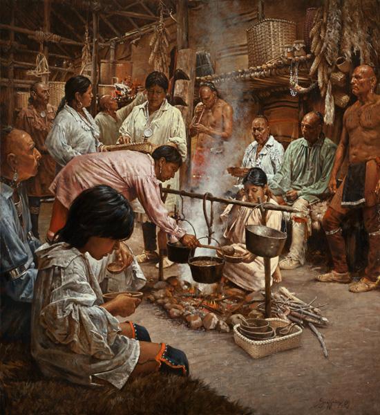 Robert Griffing, Family, oil, 46 x 42.