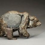 Pete Zaluzec | Grizzly Bear, river stone/bronze, 12 x 8 x 5.