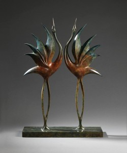 Simon Gudgeon, Dancing Cranes, bronze, 24 x 17 x 3.