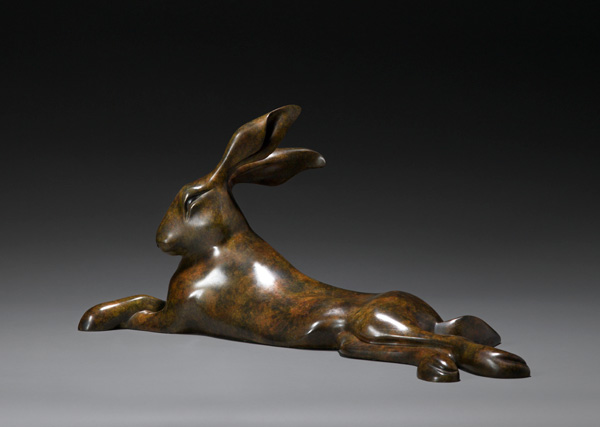 Simon Gudgeon, Reclining Hare, bronze, 10 x 23 x 6.