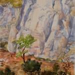 Ralph Nagel, Gulch at Plaza Blanca, watercolor, 41 x 30.