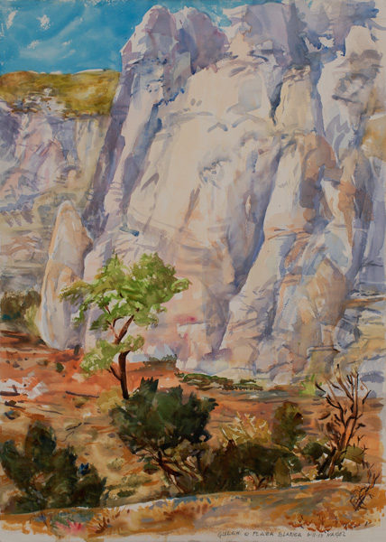 Ralph Nagel, Gulch at Plaza Blanca, watercolor, 41 x 30.