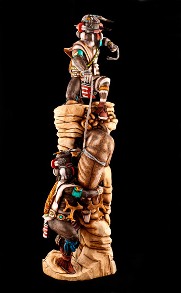 Arthur Holmes, Jr. won the top prize in the wooden pueblo carvings and sculpture classification at last year's Indian Market.