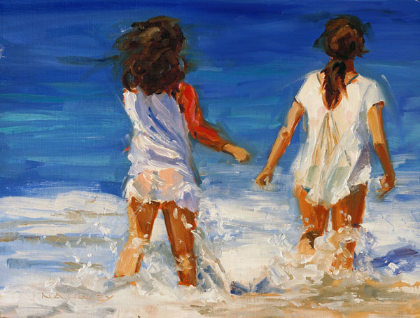 Nancy Haley, Splish Splash, oil, 8 x 10.