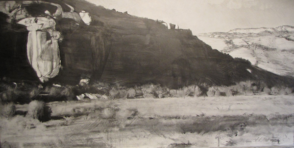 Lane Hall, Northern Arizona III, graphite and gesso, 18 x 36.