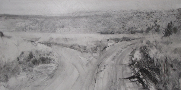 Lane Hall, Two Roads, graphite and gesso, 8 x 16.