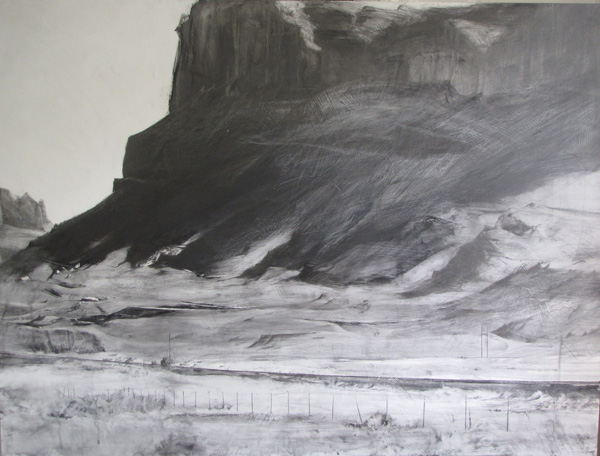 Lane Hall, Utah Afternoon II, graphite and gesso, 30 x 40.
