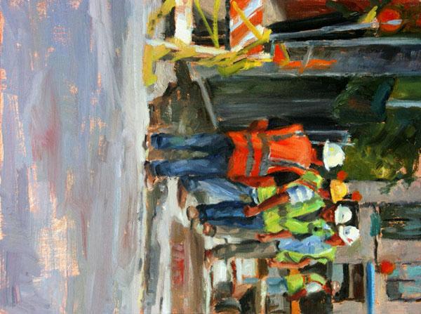 Cynthia Hamilton, Work Break, oil, 12 x 9.