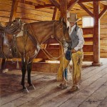 Ann Hanson, Private Conversation, oil, 20 x 20.