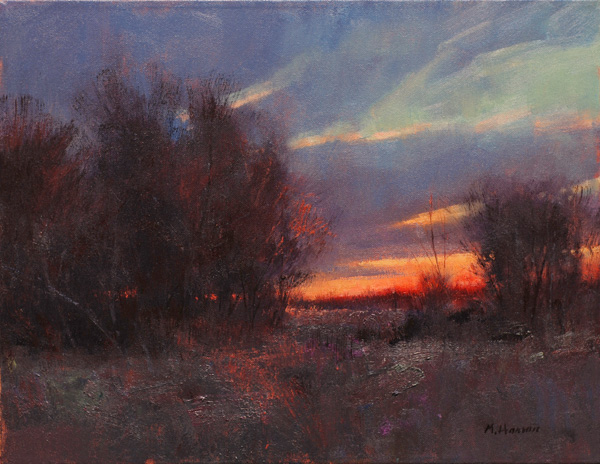 Marc Hanson, Scarlet Sunset, oil, 16 x 20.