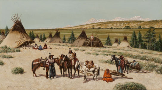 John Hauser, Indian Encampment, watercolor, 10 x 18. Estimate: $6,000-$9,000.