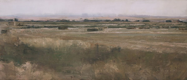 Hayfield North of Chester, oil on panel, 12 x 28.