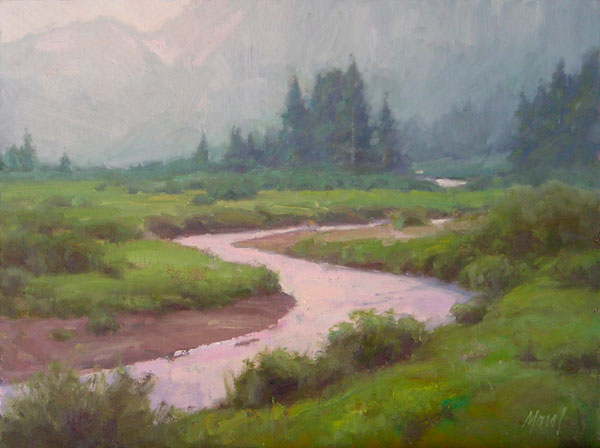 J. Chris Morel | Headwaters, oil, 12 x 16.