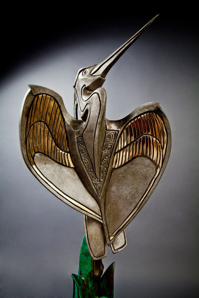 Hearts Unfolding, bronze, 39 x 16 x 12.