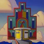 Logan Maxwell Hagege, Hemis at Sunset, oil, 30 x 30.