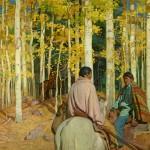 E. Martin Hennings, A Friendly Encounter, oil, 45 x 50.