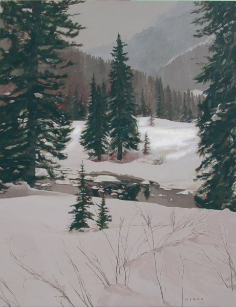 Kent Hicks, High Mountain Headwaters, oil, 27 x 20.