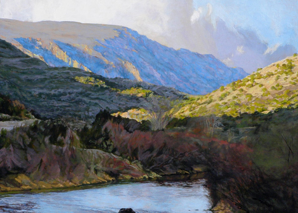 Kent Hicks, Rio Grande Rising, Further Study, oil, 21 x 29.