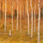 Steven Hileman, Birch Grove, oil, 18 x 24.