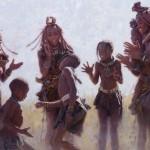 Himba Dance, oil, 30 x 40.