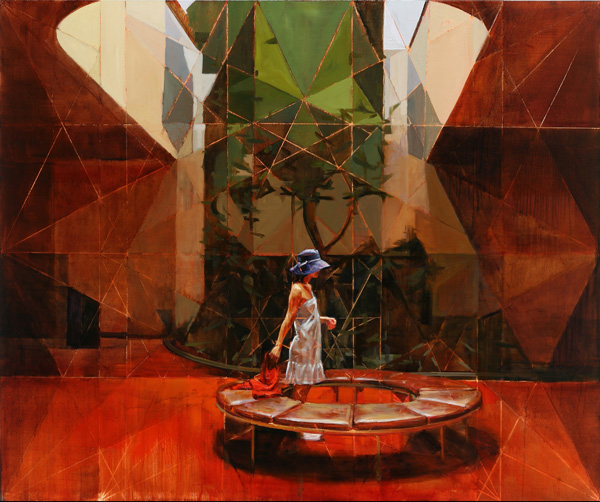 Hiroshi Sato, Resting Area, oil contemporary realism painting