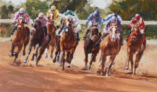 Lindsey Bittner Graham, Home Stretch Thunder, oil, 12 x 20.