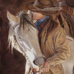 Ann Hanson, Horse Whispers, oil, 14 x 11.